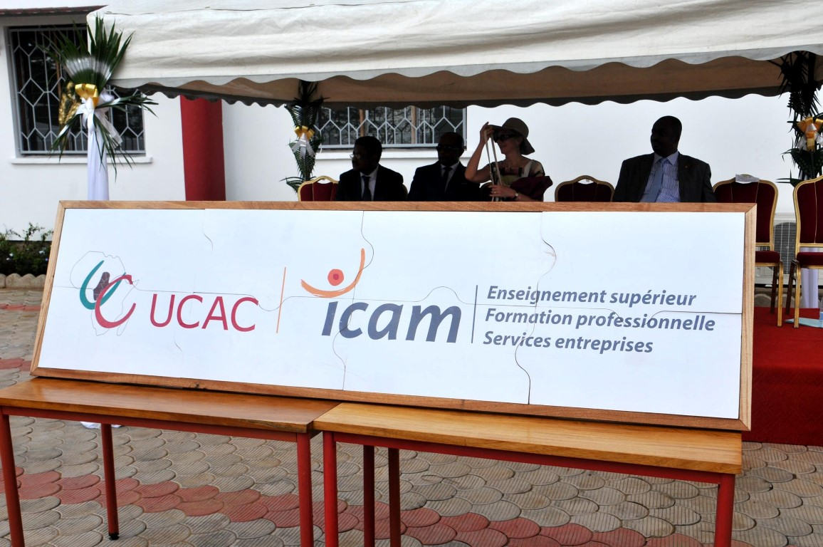 Nouveau logo dévoilé lors de l'inauguration du nouveau campus de l'Ucac-Icam à Douala